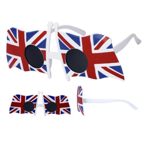 British Union flag Sunglasses with its three overlaid red and white crosses on a blue background