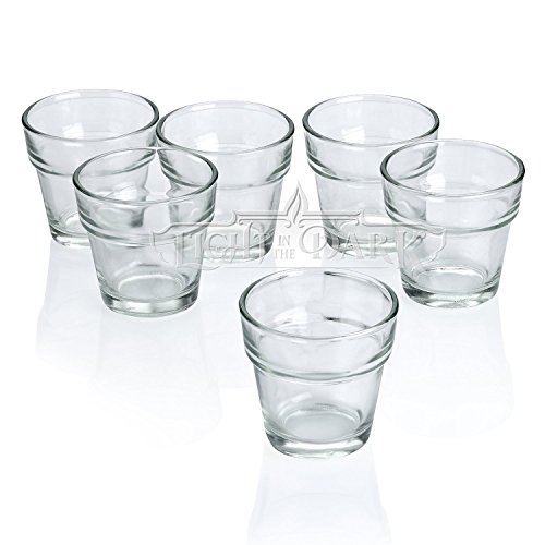 Clear Glass Flower Pot Votive Candle Holders Set of 72