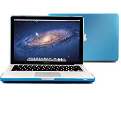 GMYLE Rubberized-see-through Hard Case Skin Cover for Aluminum Unibody 13-Inch Macbook Pro - Aqua Blue