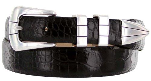 Vince Italian Calfskin Leather Designer Golf Dress Belt for Men (36, Alligator Black)