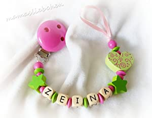 Personalized pacifier clip with wooden letter beads model 1057, handmade by mamasliebchen