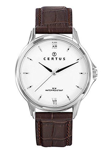 Certus Men's Watch - 611024 Brown Croco Leather Strap Steel Case White Dial