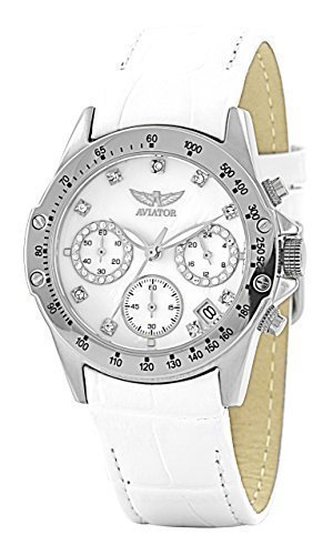 aviator-ladies-avw3426l76-stainless-steel-chronograph-white-leather-strap-watch-100m-wr