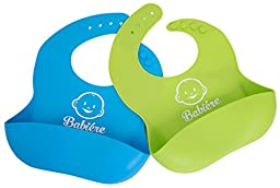Waterproof Silicone Bib with Snaps & Crumb Catcher by Babiére. Infant & Toddler Bibs for Boys & Girls. Stain-Resistant, Easily Wipes Clean & Fast Drying. Soft Feeding Bibs (2 Pack - Green/Blue)