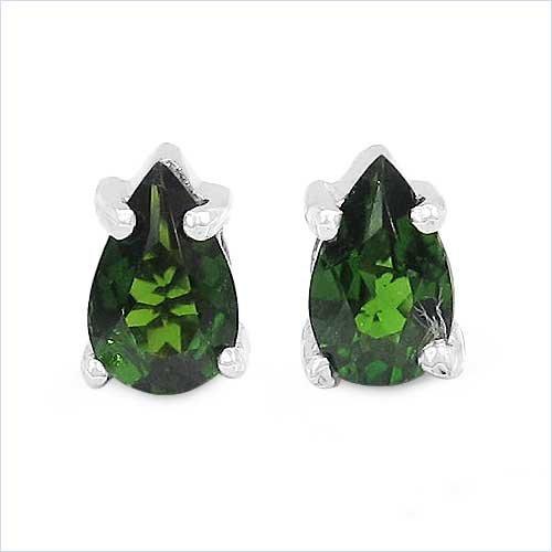 Jewelry-Schmidt-Earrings / Plugs rare green chrome diopside Drop Silver Rhodium-0, 46 carats