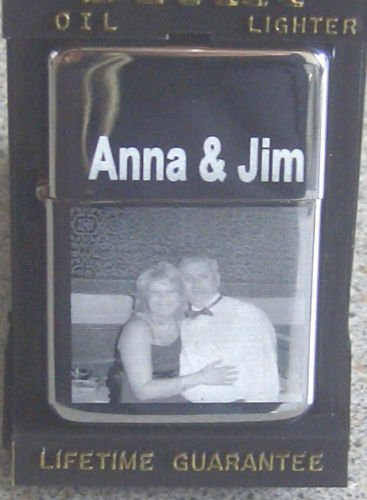 PERSONALISED PICTURE ENGRAVED CHROME PETROL LIGHTER WITH FREE UK POSTAGE