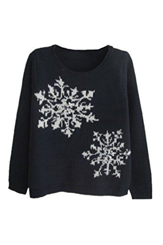 Pink Wind Womens Pullover Knitted Snowflake Sweater Loose Sweatshirts L