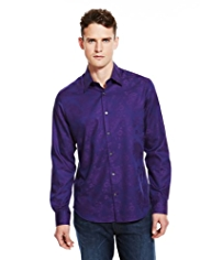 Autograph Pure Cotton Paisley Print Slim Fit Shirt
