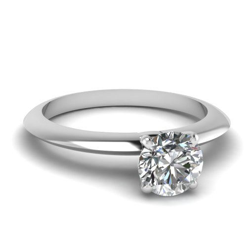 Fascinating Diamonds Classic Solitaire Diamond Knife Edge Engagement Ring 0.70 Ct Round Cut Si1-G 14K Gia