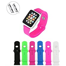 buy Crejoy™ 42Mm Silicone Watch Band Fitness+Adapters Replacement Straps Bracelet Wrist Band Watch Band For Apple Watch Sport Edition 2015 Released (Rose Red 42Mm Silicone Band)