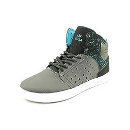 Supra Kid\'s Atom Grey/Black/Black Skate Shoe 12 Kids US