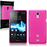 Sony Xperia T TPU Gel Skin Case / Cover - Solid Hot Pink