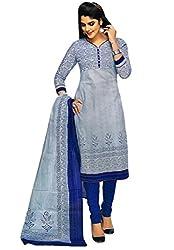 Salwar Studio White & Blue Cotton Floral, Geometric Printed Dress Material SHREEGANESH-928