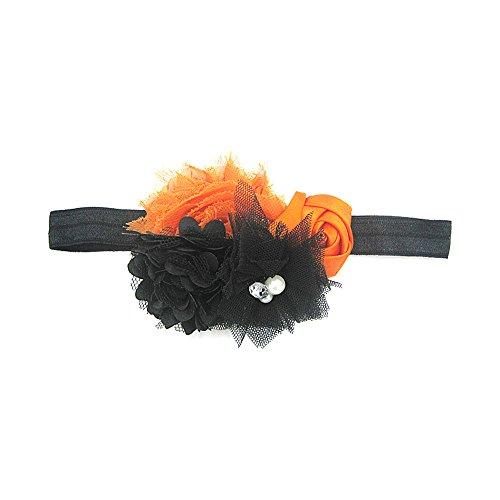[Fheaven Baby Girl Newborn Toddler Halloween Flower Elastic Headband Photography Headband] (Zombie Baby Halloween Prop)