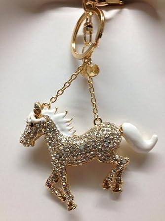 HORSE LOVER DIAMANTE KEYRING HANDBAG CHARM BIRTHDAY PARTY FAVOR GIFT