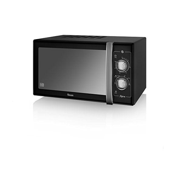 SWAN Retro Manual Microwave, 25 Litre, 900 W, Black