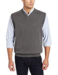 Cutter & Buck Men\'s Broadview Sweater Vest, Charcoal Heather, X-Large