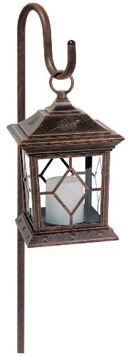 Manor House LV11042AC Flickering Candler Low Voltage Light on Shepherd's Hook, Antique Copper