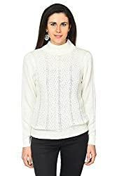Annabelle by Pantaloons Women's Polo Neck Sweater (205000005619627, White, Small)
