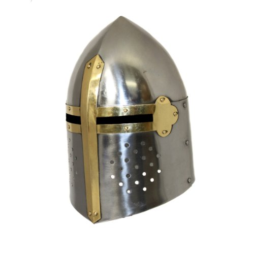 [Antique Replica Medieval Sugarloaf Armor Helmet - Silver and Gold] (Leonidas Helmet Costume)