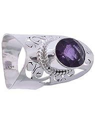 925SilverCollection Silver Plated Amethyst Stone Designer Ring Size 8.5 - B00Q2SXEA2