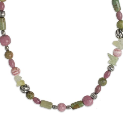 Southwest Spirit Sterling Silver Pink and Green Gemstone Long Beaded Necklace - 36
