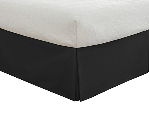 Lux Hotel Basic Microfiber 14-Inch Bed Skirt, Queen, Black