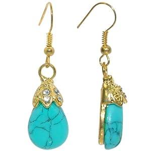 Baroque Turquoise Drop Diamante Gold-Tone Earrings