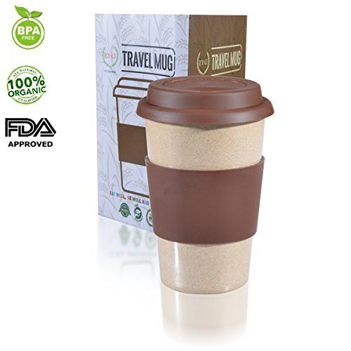 16oz REUSABLE TRAVEL MUG To Go TAKEAWAY COFFEE CUP BROWN Leak proof Silicone Lid & Heat Resistant Nonslip Grip.100% Organic Eco friendly Biodegradable Material FDA approved BPA free. FREE recipe eBook (Glass Mug Microwavable compare prices)