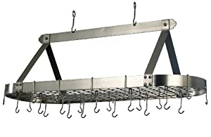 Old Dutch 48-by-18-Inch Oval Pot Rack with 16 Hooks, Satin Nickel