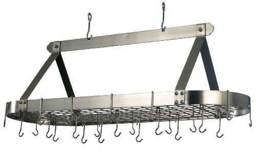 Old Dutch 48-by-18-Inch Oval Pot Rack with 16 Hooks, Satin Nickel (Hanging Pot Rack Old Dutch compare prices)