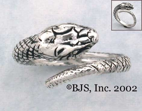 Adjustable Snake Ring - Sterling Silver Animal Jewelry