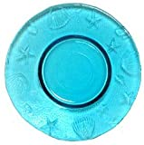 "Spanish Ocean Sea Life Recycled Aqua Blue Glass Small Plate 8""D Set of 2"