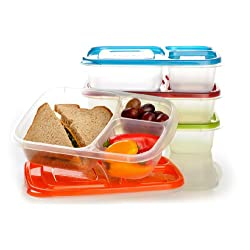 [Best price] Kids&#039 - EasyLunchboxes 3-compartment Bento Lunch Box Containers (Set of 4). BPA-Free. Easy-Open Lids (Not Leakproof) - toys-games
