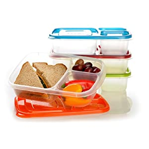 EasyLunchboxes 3-compartment Bento Lunch Box Containers (Set of 4) BPA-Free. Easy-Open Lids (Not Leakproof)