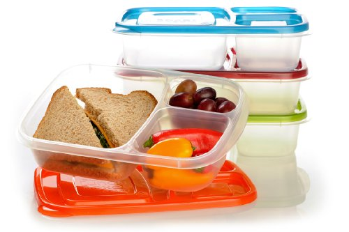 "EasyLunchboxes 3-compartment Bento Lunch Box Containers ""CLASSIC"" (Set of 4). BPA-Free. Easy-Open Lids (Not Leakproof)"