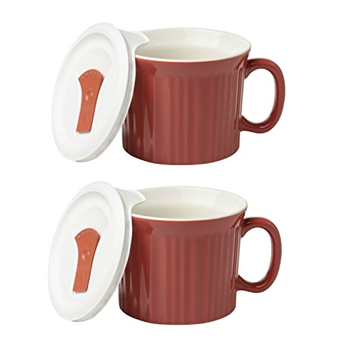 Corningware Pop-Ins 20-Ounce Mug with Vented Plastic Cover (Pack of 2) (Red Clay) (Corningware Mug With Vented Cover compare prices)