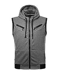 Allegra K Men Zip Up Front Pockets Detail Ribbing Hem Leisure Hoody Vest Gray M