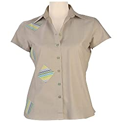 Colhers - Grey Shirt With Striped Applique Patches - M