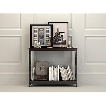 Black Finish 3-Tier X-Design Occasional Console Sofa Table Bookshelf