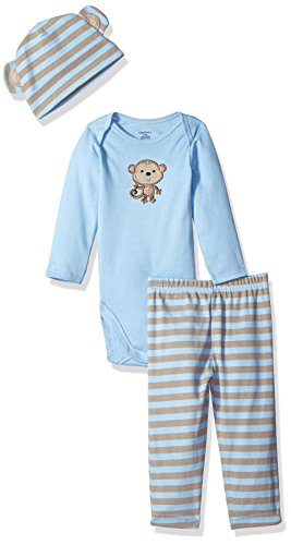 Gerber Boys' 3 Piece Bodysuit, Cap, and Pant Set, Sweet Baby Monkey, 12 Months