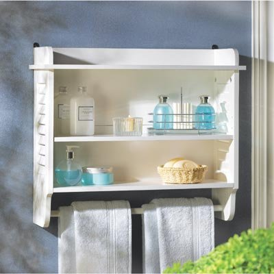 White WOOD Nantucket Bathroom BEDROOM WALL TOWEL RACK STORAGE Shelf 3 Shelves