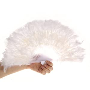 Large Marabou White Feather Hand Fan For Costume, Halloween, Party, Dance