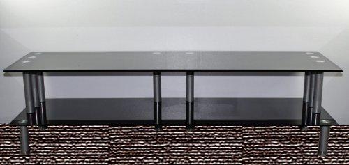 Image of Carromata 55-Inch Glass and Metal TV Stand, Black Glass and Metallic Frame (47-2471)