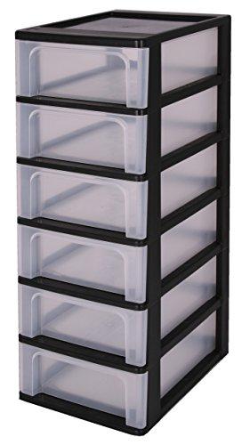 Iris-140067-OCH-2006-A-4-Schubladencontainer-mit-6-Schubladen-Plastik-schwarz-26-x-355-x-725-cm