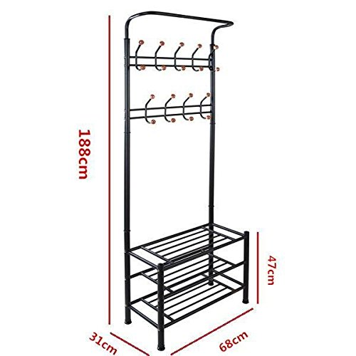 World Pride Metal Multi-purpose Clothes Coat Stand, Shoes Rack Umbrella Stand, With 18 Hanging Hooks, Max Load Capicity Up to 80 KG / 176 lbs, 26.7 x 12.2 x 74