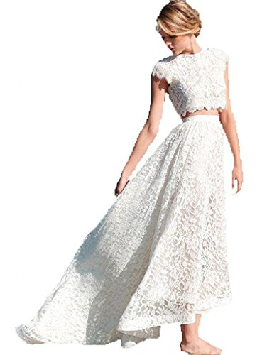 0c5a68752ed30 Heartgown Women's Two Piece A Line Short Sleeve Lace Beach Wedding Dress  White US2