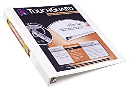 Avery Touchguard Antimicrobial View Binder with 1 Inch One Touch EZD Ring, White (17141)