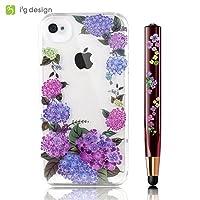 iPhone4S/4専用 花柄ケース+クリスタル三角タッチペンセット/アジサイ
