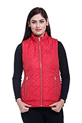 Trufit Sleeveless Solid Women's Red Quilted Golden Zip Polyetser Bomber Polyfill jacket